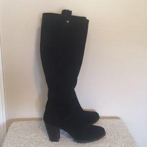 Black suede heeled ugg boots